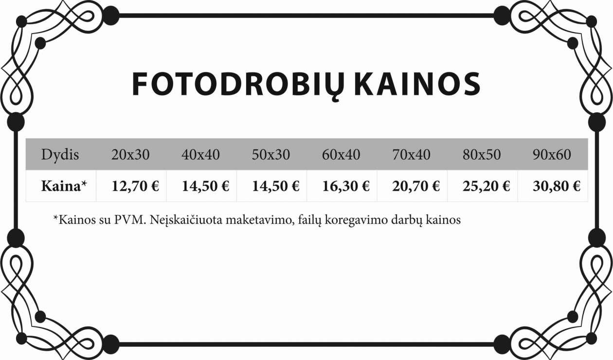 fotodrobiu kainos